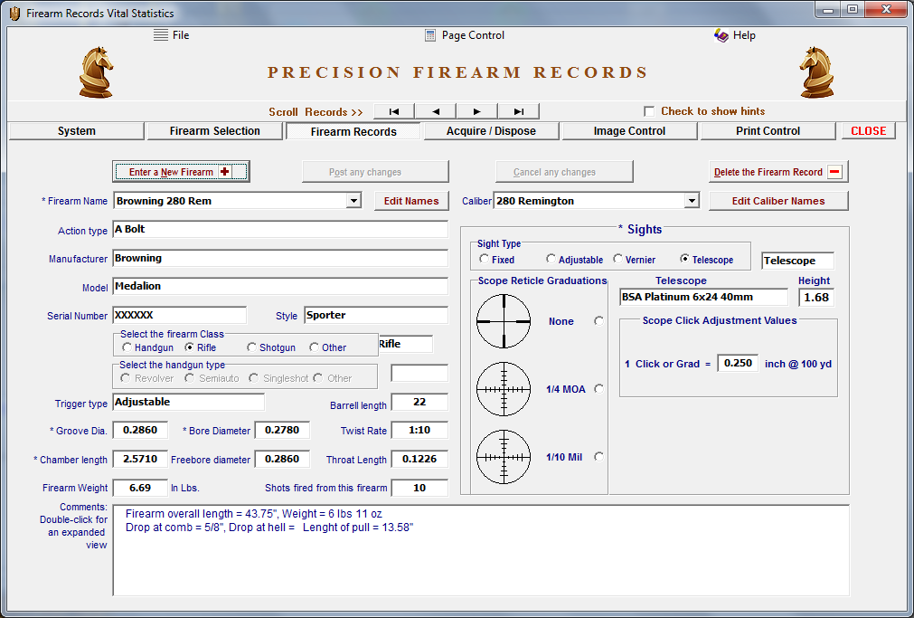 Firearm Records Ver. 5 Download - Click Image to Close